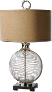"29""h Catalan 1-Light Table Lamp Polished Nickel/Marble"