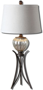 Uttermost 33 inchh Cebrario 1-Light Table Lamp Antique Mercury/Bronze 26598