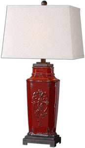 Uttermost 31 inchh Centralia 1-Light Table Lamp Deep Red / Aged Black / Rust Brown 26345