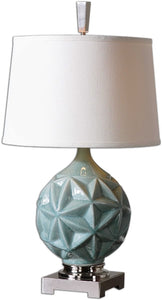 Uttermost 27 inchh Chelan 1-Light Table Lamp Crackled Sky Blue / Polished Nickel 26346