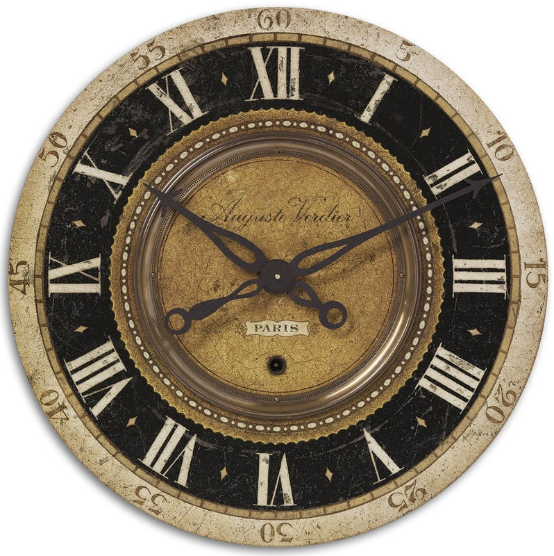 "27""H Auguste Verdier Wall Clock Antiqued Brass"