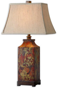 Uttermost 32 inchh Colorful Flowers 1-Light Table Lamp Burnished Walnut 27678