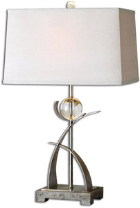 Uttermost 27 inchh Cortlandt 1-Light Table Lamp Lightly Antiqued Silver 27746