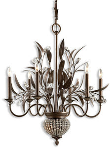 Uttermost Cristal de Lisbon 8-Light Chandelier Golden Bronze 21017