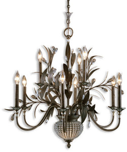 Uttermost Cristal De Lisbon 11 Light Chandelier Golden Bronze 21094
