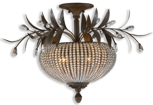 Cristal de Lisbon Semi Flush Mount Golden Bronze