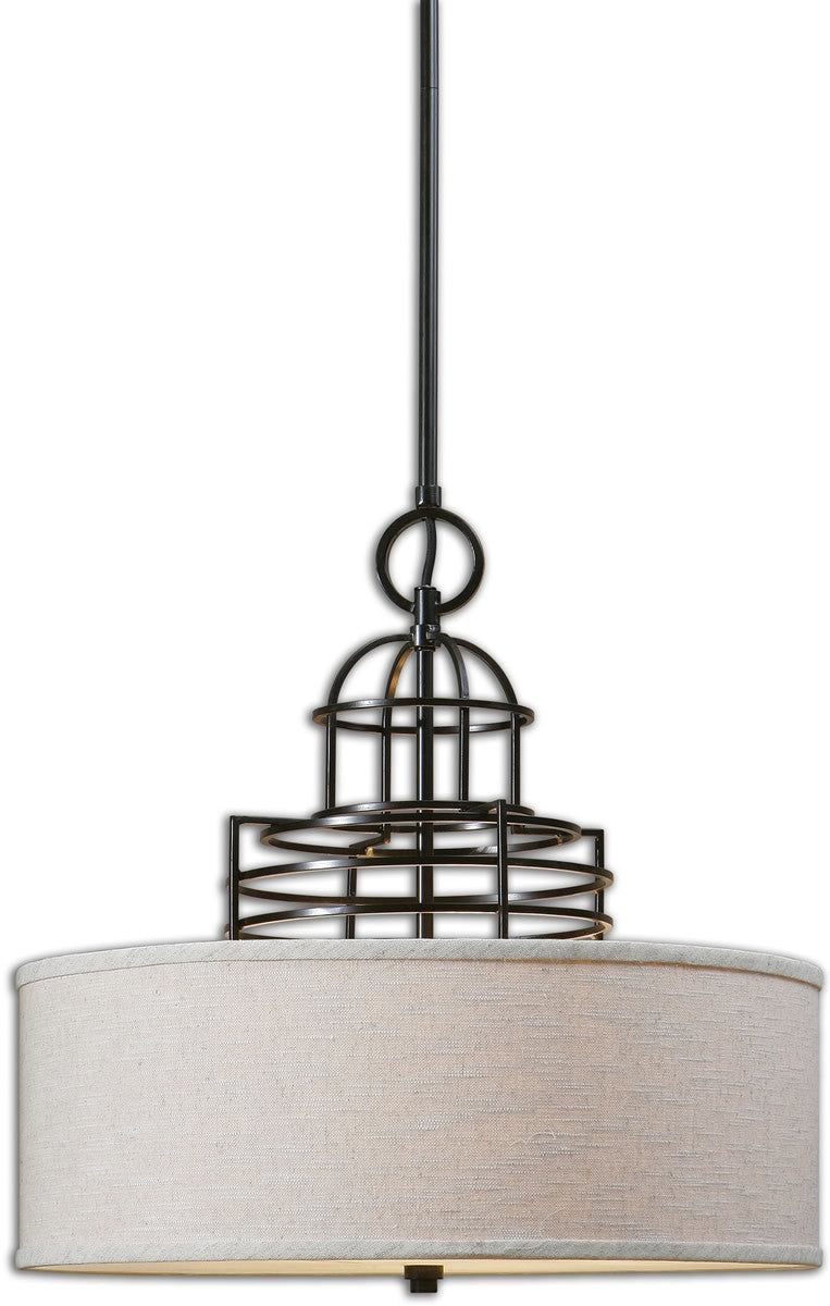 Cupola 3-Light Drum Pendant Weathered Bronze