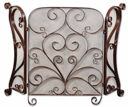 Uttermost Daymeion Fireplace Screen Cocoa Brown 20278