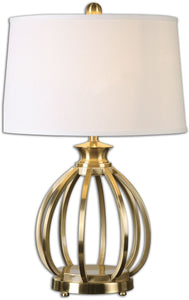 "28""h Decimus 1-Light Table Lamp Plated Brushed Brass"