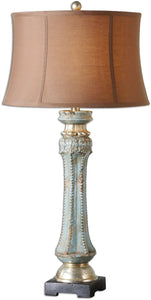 Uttermost 35 inchh Deniz 1-Light Table Lamp Blue Ceramic/Gray/Silver 26822