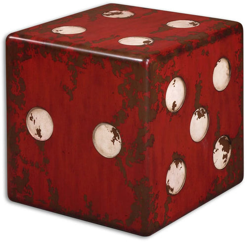 Uttermost Dice Accent Table Burnt Red 24168