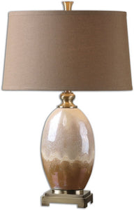 Uttermost 29 inchh Eadric 1-Light Table Lamp Ivory/Rust/Gold 26156