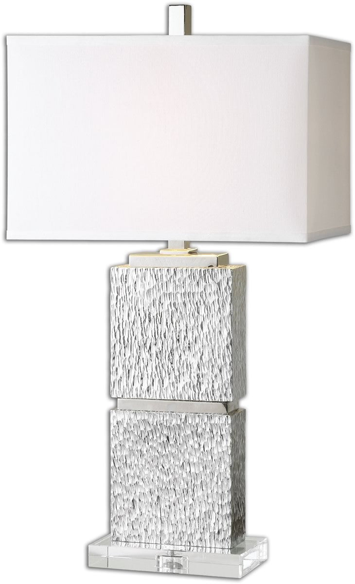 "30""h Eumelia 1-Light Table Lamp Metallic Silver"