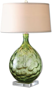 Uttermost 30 inchh Florian 1-Light Table Lamp Green Rubble / Polished Nickel 26199