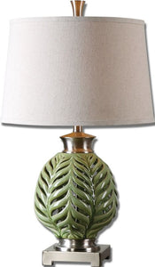 Uttermost 26 inchh Flowing Fern 1-Light Table Lamp Green/Brushed Nickel 26285