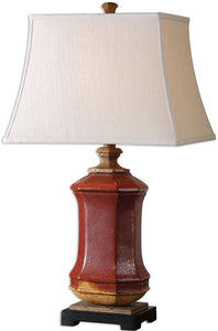 Uttermost 27 inchh Fogliano 1-Light Table Lamp Rustic Red 26497