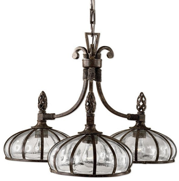 Galeana 3-Light Chandelier Antique Saddle