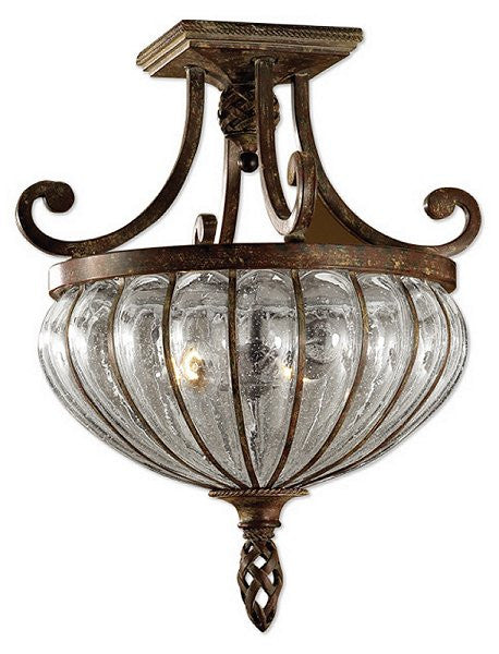 Galeana 2-Light Semi Flush Mount Antique Saddle