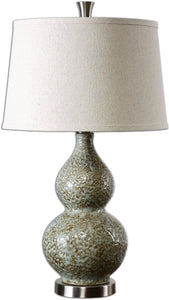 Uttermost 26 inchh Hatton 1-Light Table Lamp Ivory/Brown/Aluminum 26299