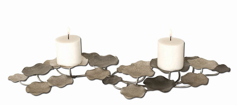 "4""H Lying Lotus Candle Holder Champagne Silver and Pewter"