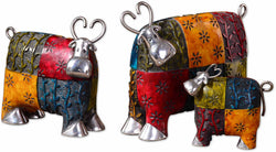 Uttermost Colorful Cows Statues Green Red and Blue 19058