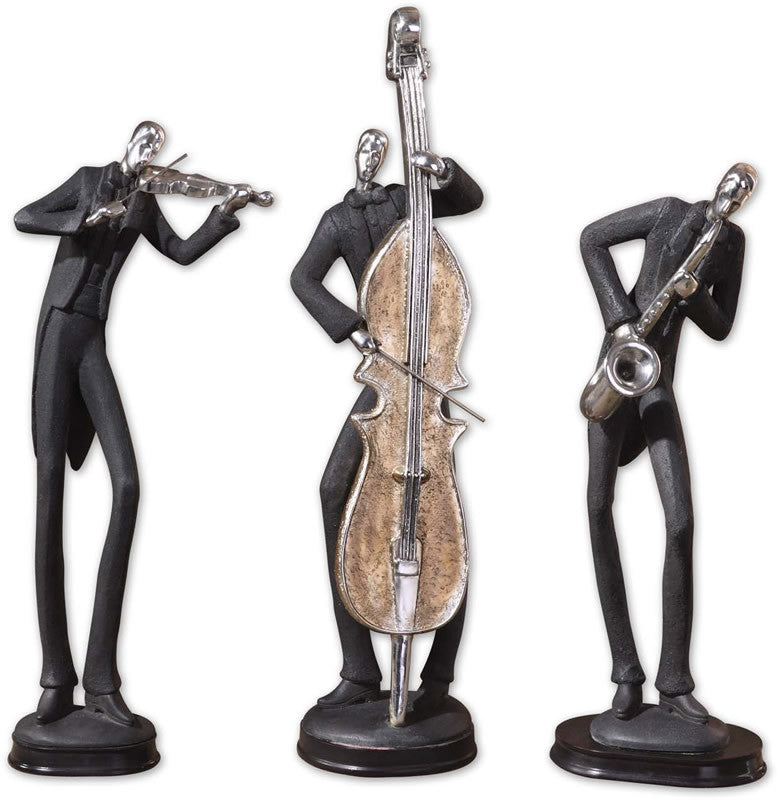 "18""H Musicians Statues Slate Gray"