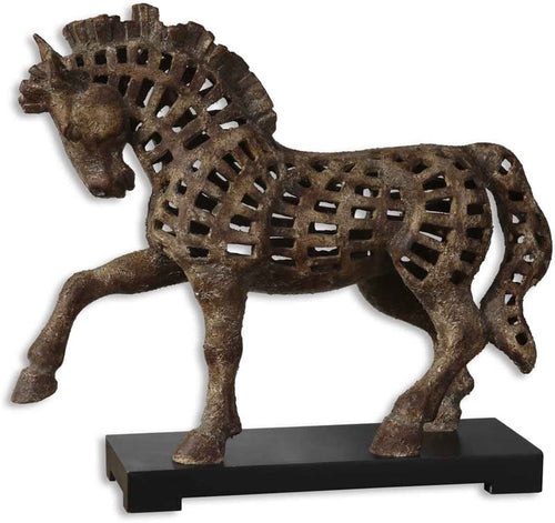 Uttermost Prancing Horse Statue Antique Textured Ivory 19217