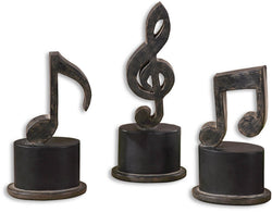 "12""h Music Notes Table Decorations Aged Black"