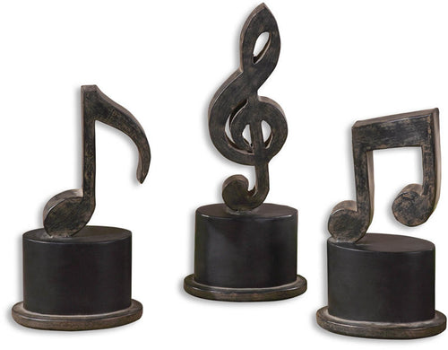 Uttermost Music Notes Table Decorations Aged Black 19280
