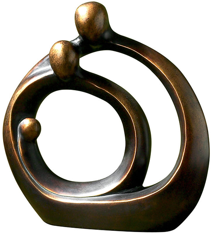 "14""H Family Circles Statue Bronze Patina"