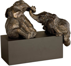 Uttermost Playful Pachyderms Statue Antique Bronze Patina 19473