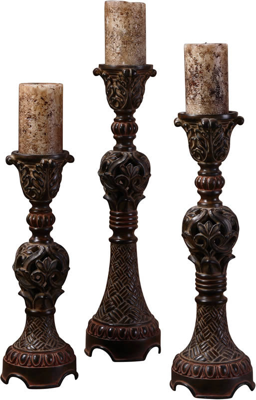 "22""H Rosina Candlesticks Set of 3 Walnut Brown"