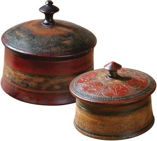 Uttermost Sherpa Boxes Set of 2 Distressed Red 20800
