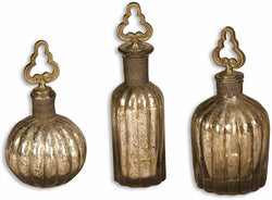 Uttermost Kaho Perfume Bottles Antique Silver 19141