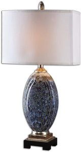 Uttermost 30 inchh Latah 1-Light Table Lamp Blue/Ivory/Champagne 26298-1