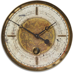 Uttermost Leonardo Script Cream Wall Clock Brass 6006