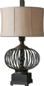 Uttermost 31 inchh Lipioni 1-Light Table Lamp Rustic Black 26463-1