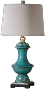 Uttermost 31 inchh Lynden 1-Light Table Lamp Aged Blue 26347