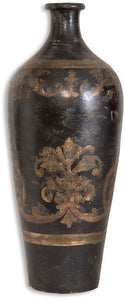 "24""h Mela Vase Aged Black and Gold"