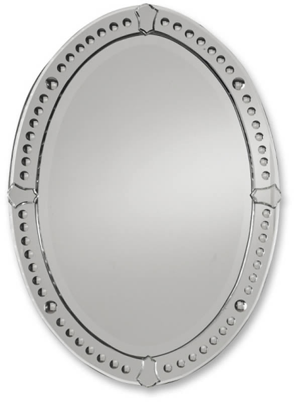 "34x25"" Graziano Oval Mirror Curved Beveled Mirrors"