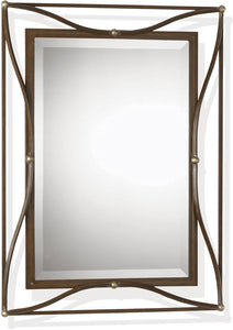 "38x28"" Thierry Mirror Scratched Bronze"