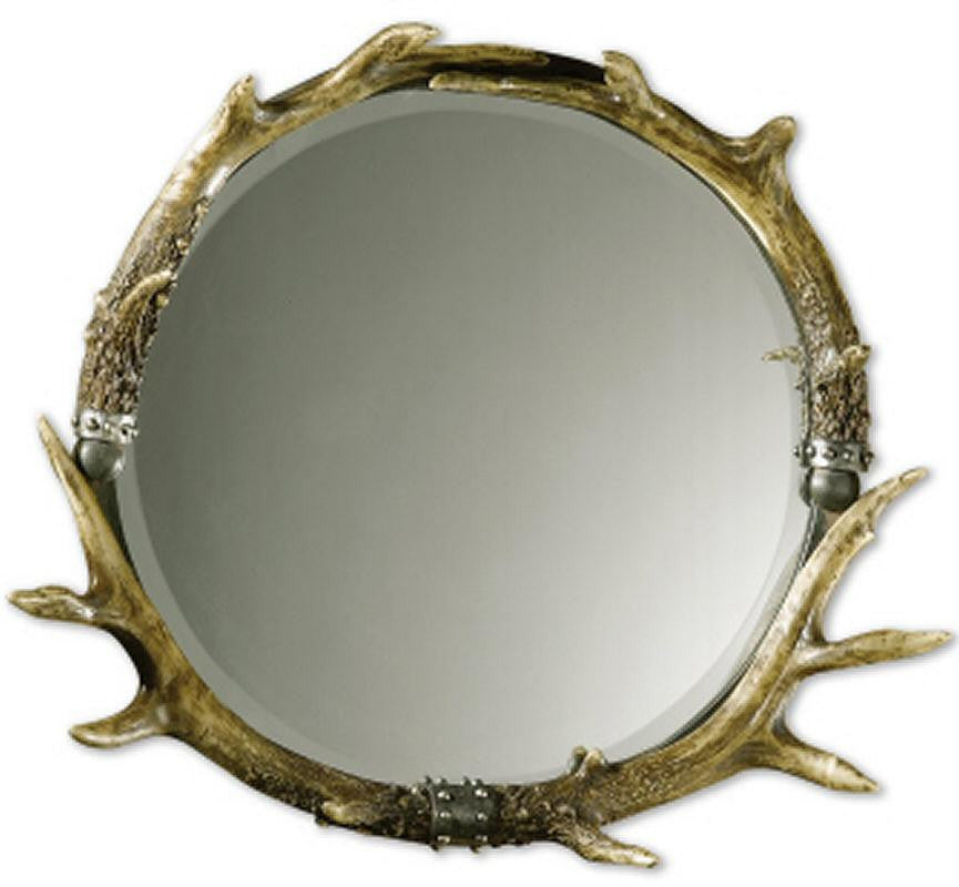 "24""H x 26""W Stag Horn Round Mirror Natural Brown/Ivory/Silver Leaf"
