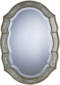 "35x25"" Fifi Mirror Heavily Antiqued Gold Leaf"