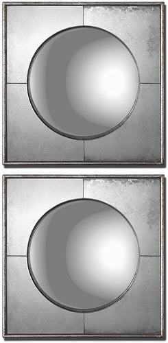 "16""H Savio Squares Set of 2 Mirror Champagne Silver Leaf"