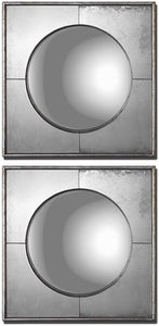 "16x16"" Savio Squares Set of 2 Mirror Champagne Silver Leaf"