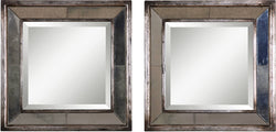 "18x18"" Davion Squares Mirror Set of 2 Distressed Antiqued Silver Leaf"