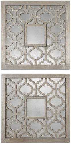 "20x20"" Sorbolo Squares Set of 2 Mirror Antiqued Silver Leaf"