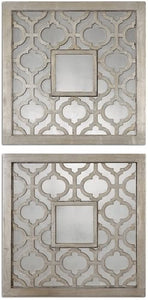 Uttermost Sorbolo Squares Set of 2 Mirror Antiqued Silver Leaf 13808