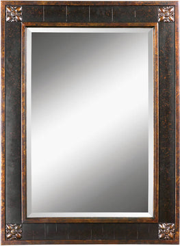 "38""H x 28""W Bergamo Mirror Distressed Chestnut Brown"