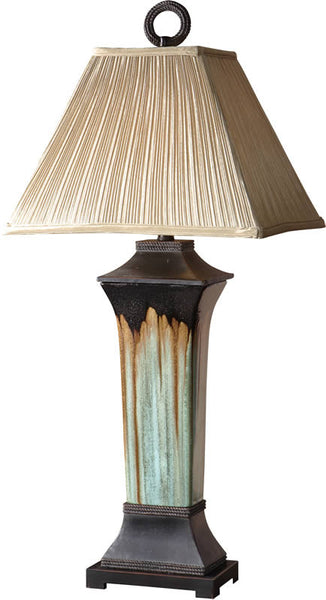 Uttermost Olinda 2-Way Table Lamp Light Green And Metallic Brown Porcelain 26270